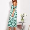 SCANDEZZA Biało-zielona sukienka maxi off shoulder w li¶cie - zdjęcie 3