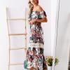 SCANDEZZA Biało-zielona sukienka maxi z etnicznym nadrukiem - zdjęcie 6