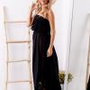 SCANDEZZA Czarna sukienka maxi z dekoltem carmen - zdjęcie 2
