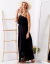 SCANDEZZA Czarna sukienka maxi z dekoltem carmen