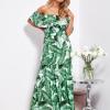 SCANDEZZA Biało-zielona sukienka hiszpanka maxi w tropikalne li¶cie - zdjęcie 1