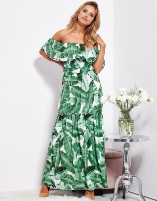 SCANDEZZA Biało-zielona sukienka hiszpanka maxi w tropikalne liście