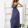 SCANDEZZA Niebieska sukienka maxi z cekinową górą - zdjęcie 4