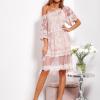 SCANDEZZA Pudroworóżowa luźna sukienka z oddzielną halką - zdjęcie 6
