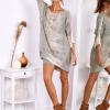 SCANDEZZA Khaki sukienka oversize z cekinami w malarski deseń - zdjęcie 4
