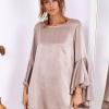 SCANDEZZA Beżowa sukienka z hiszpańskimi rękawami - zdjęcie 4