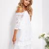 SCANDEZZA Ecru luźna sukienka z oddzielną halką - zdjęcie 2