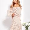 SCANDEZZA Beżowa rozkloszowana sukienka hiszpanka z haftem - zdjęcie 6