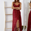 SCANDEZZA Bordowa sukienka w drobny kwiatowy wzór - zdjęcie 5