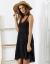 SCANDEZZA Czarna sukienka boho z ażurowymi wstawkami