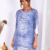 SCANDEZZA Niebieska sukienka oversize z cekinami w malarski deseń - zdjęcie 1