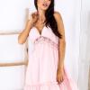 SCANDEZZA Różowa sukienka wiązana na szyi - zdjęcie 1