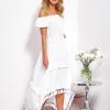 SCANDEZZA Biała asymetryczna sukienka hiszpanka z frędzlami - zdjęcie 6