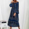 SCANDEZZA Granatowa sukienka maxi hiszpanka ze wzorem - zdjęcie 1