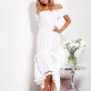 SCANDEZZA Biała asymetryczna sukienka hiszpanka z frędzlami - zdjęcie 5