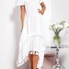SCANDEZZA Biała asymetryczna sukienka hiszpanka z frędzlami - zdjęcie 4