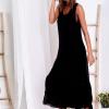 SCANDEZZA Czarna długa sukienka z falbaną - zdjęcie 6