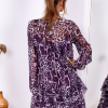 SCANDEZZA Fioletowa sukienka w panterkę z jedwabiem - zdjęcie 1