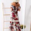SCANDEZZA Biało-bordowa sukienka maxi z etnicznym nadrukiem - zdjęcie 3