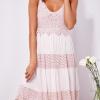SCANDEZZA Różowa sukienka na ramiączkach z koronką - zdjęcie 5