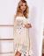 SCANDEZZA Beżowa koronkowa sukienka z hiszpańskim dekoltem