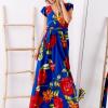SCANDEZZA Niebieska długa sukienka w kwiaty - zdjęcie 4