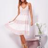 SCANDEZZA Różowa sukienka na ramiączkach z koronką - zdjęcie 4