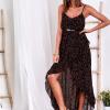 SCANDEZZA Czarna sukienka w drobny kwiatowy wzór - zdjęcie 1