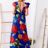 SCANDEZZA Niebieska długa sukienka w kwiaty - zdjęcie 1