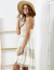 SCANDEZZA Beżowa sukienka boho z ażurowymi wstawkami