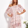 SCANDEZZA Pudroworóżowa luźna sukienka z oddzielną halką - zdjęcie 3