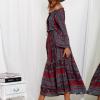 SCANDEZZA Bordowa sukienka maxi hiszpanka ze wzorem - zdjęcie 5