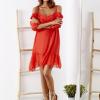 SCANDEZZA Czerwona sukienka z wycięciami na ramionach - zdjęcie 2