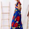 SCANDEZZA Niebieska długa sukienka w kwiaty - zdjęcie 5