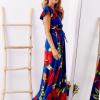 SCANDEZZA Niebieska długa sukienka w kwiaty - zdjęcie 2