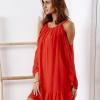 SCANDEZZA Czerwona zwiewna sukienka off shoulder - zdjęcie 3