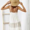 SCANDEZZA Beżowa sukienka boho z ażurowymi wstawkami - zdjęcie 2
