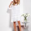SCANDEZZA Ecru luźna sukienka z oddzielną halką - zdjęcie 5