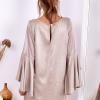 SCANDEZZA Beżowa sukienka z hiszpańskimi rękawami - zdjęcie 3
