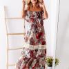 SCANDEZZA Biało-bordowa sukienka maxi z etnicznym nadrukiem - zdjęcie 2