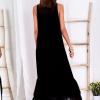 SCANDEZZA Czarna długa sukienka z falbaną - zdjęcie 1