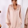 SCANDEZZA Pudroworóżowa luźna sukienka z jedwabiem - zdjęcie 1