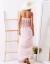 SCANDEZZA Różowa sukienka maxi z dekoltem carmen
