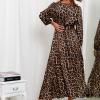 SCANDEZZA Brązowa sukienka maxi w panterkę - zdjęcie 2