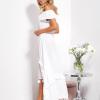 SCANDEZZA Biała asymetryczna sukienka hiszpanka z frędzlami - zdjęcie 2