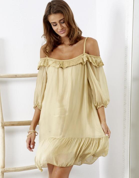 SCANDEZZA Beżowa sukienka z wycięciami na ramionach