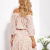 SCANDEZZA Beżowa rozkloszowana sukienka hiszpanka z haftem - zdjęcie 5