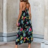 SCANDEZZA Czarna długa sukienka z motywem ro¶linnym - zdjęcie 3