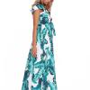 SCANDEZZA Zielona długa sukienka z nadrukiem li¶ci - zdjęcie 6