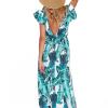 SCANDEZZA Zielona długa sukienka z nadrukiem li¶ci - zdjęcie 1
